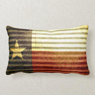 Texas Flag Old Tin Roof gear Throw Pillows