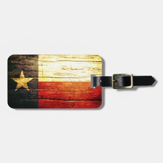 Texas Flag Old Wood Luggage Tag