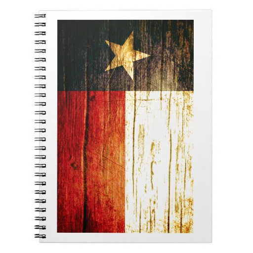 Texas Flag Old Wood Note Book