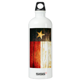 Texas Flag Old Wood Water Bottle