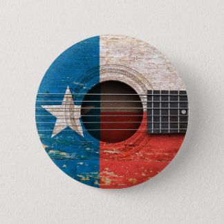 Texas Flag on Old Acoustic Guitar Button