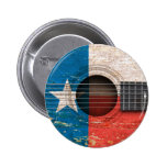 Texas Flag on Old Acoustic Guitar 2 Inch Round Button