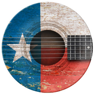 Texas Flag on Old Acoustic Guitar Porcelain Plate