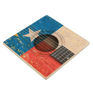 Texas Flag on Old Acoustic Guitar Wood Coaster