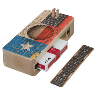 Texas Flag on Old Acoustic Guitar Maple Cribbage Board