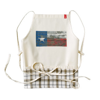 Texas Flag on Rough Wood Boards Effect Zazzle HEART Apron