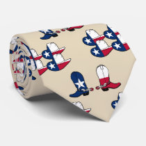 Texas Flag Print Cowboy Boots And Hats Tie