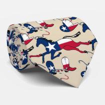Texas Flag Print Horse Cowboy Boots And Hats Tie