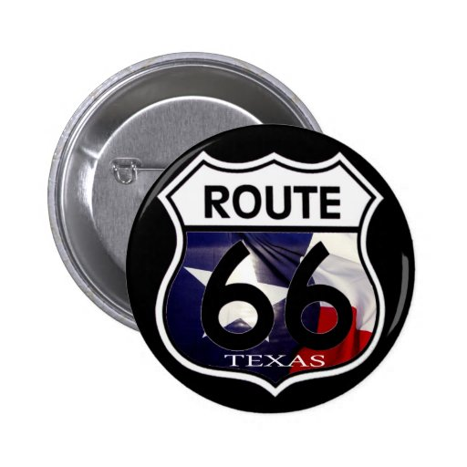 Texas Flag Route 66 Shield 2 Inch Round Button
