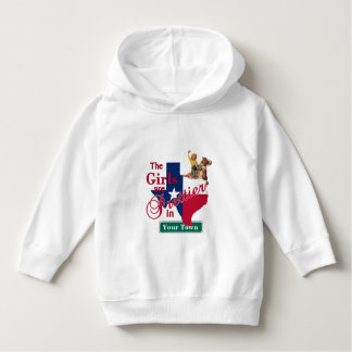 Texas Flag Shape CUSTOM Cowgirl Girls Are Prettier Hoodie
