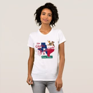 Texas Flag Shape CUSTOM Cowgirl Girls Are Prettier T-Shirt