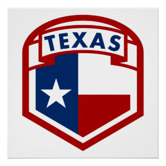 Texas Flag Shield Style Poster