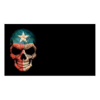 Texas Flag Skull on Black Business Card Templates