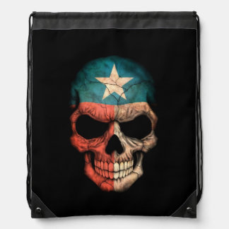 Texas Flag Skull on Black Drawstring Bags