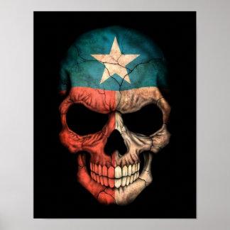 Texas Flag Skull on Black Poster