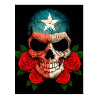 Texas Flag Skull with Red Roses Postcard