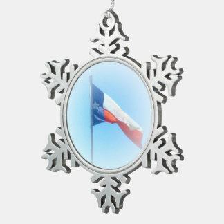 Texas Flag Snowflake Pewter Christmas Ornament