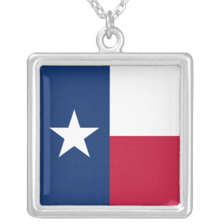 Texas Flag Square Pendant Necklace