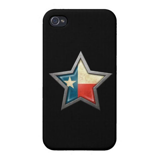 Texas Flag Star on Black iPhone 4 Case