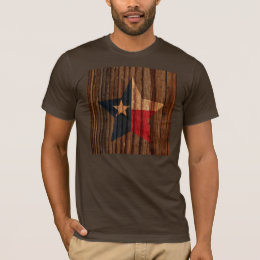 Texas Flag Star on Wood theme T-Shirt