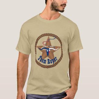 Texas Flag Steer Head With Rope Team Roper T-Shirt