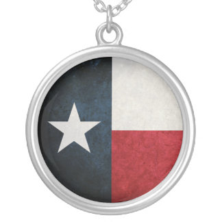 Texas Flag; Texan; Round Pendant Necklace