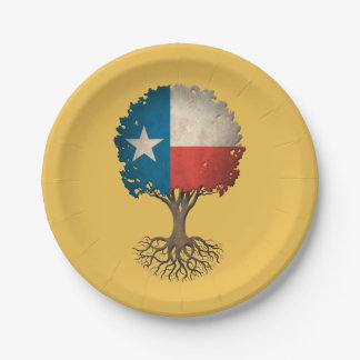 Texas Flag Tree of Life Customizable 7 Inch Paper Plate