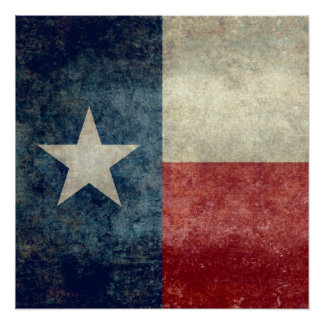 Texas flag, Vintage retro style Square format Perfect Poster