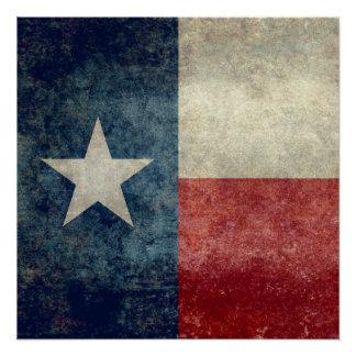 Texas flag, Vintage retro style Square format Poster