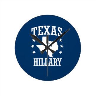 TEXAS FOR HILLARY ROUND WALL CLOCKS