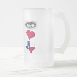 Texas Frosted Glass Beer Mug