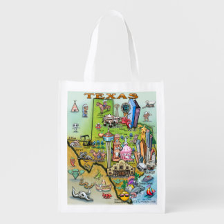 Texas Fun Map Reusable Grocery Bag