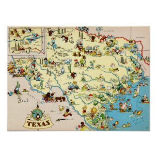 Texas Funny Vintage Map Poster