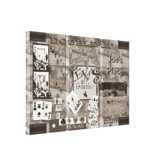 Texas Gambler Poker night panels sepia Gallery Wrapped Canvas