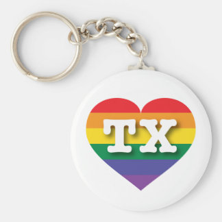 Texas Gay Pride Rainbow Heart - Big Love Keychain