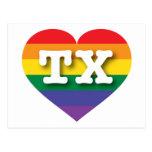 Texas Gay Pride Rainbow Heart - Big Love Postcard