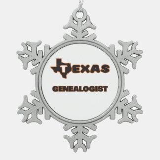 Texas Genealogist Snowflake Pewter Christmas Ornament