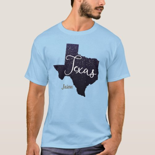 Texas Glitter State Shape T_Shirt