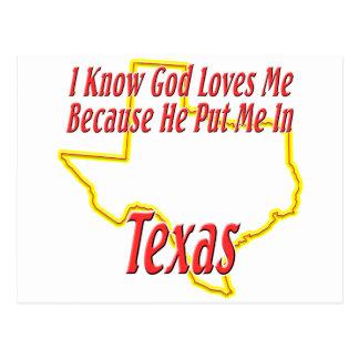 Texas - God Loves Me Postcard