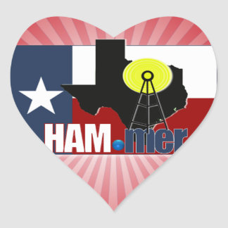 TEXAS HAM-MER AMATEUR RADIO OPERATOR HEART STICKER
