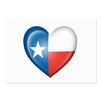 Texas Heart Flag on White Large Business Cards (Pack Of 100)