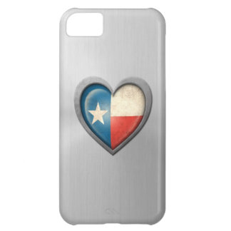 Texas Heart Flag Stainless Steel Effect Cover For iPhone 5C