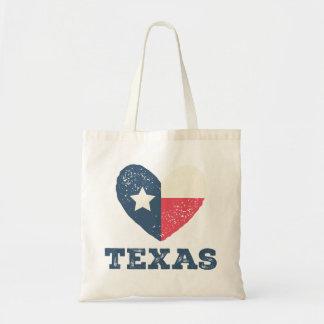 Texas Heart Flag Tote w/ TEXAS Budget Tote Bag