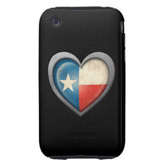 Texas Heart Flag with Metal Effect iPhone 3 Tough Cases
