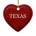 Texas Heart Map Christmas Ornament