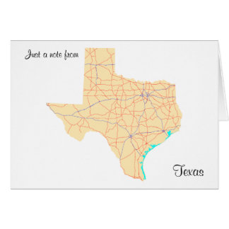 Texas Highways Map Note Card