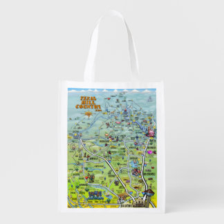 Texas Hill Country 2014 Cartoon Map Reusable Grocery Bags