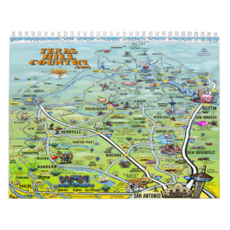 Texas Hill Country Cartoon Maps Calendar