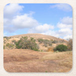 """Texas Hill Country Enchanted Rock State Park Square Paper Coaster<br><div class=""""desc"""">This paper coaster depicts a beautiful scene on a sunny Thanksgiving Day 2012 with white fluffy clouds against a clear blue sky at the Enchanted Rock State Natural Area in the Texas Hill country near central Texas. This is the lower part of the trail that leads up to the summit...</div>"""