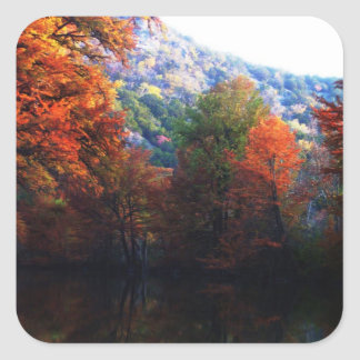 Texas Hill Country Fall Square Sticker